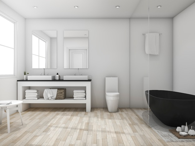 Representación 3d baño minimalista tipo loft con bañera negra
