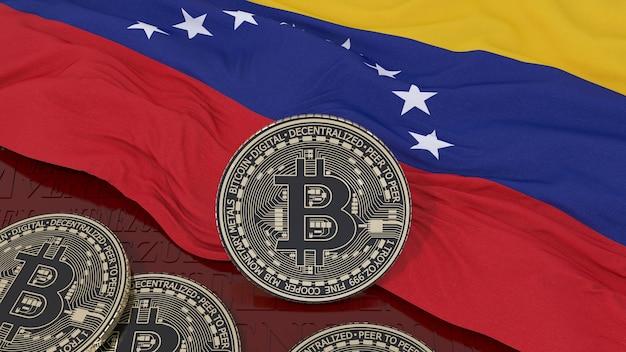 Representación 3d de un bitcoin metálico sobre una bandera venezolana