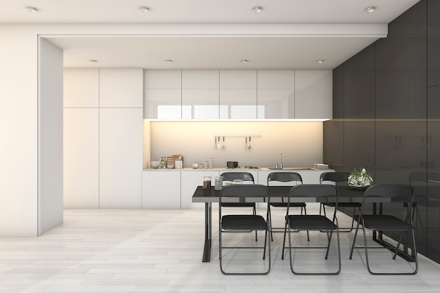 Representación 3d blanca moderna cocina y sala de estar con zona de comedor