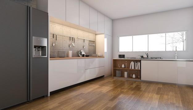 Representación 3d bonita cocina y comedor con piso de madera