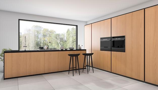 Representación 3d bonita cocina de diseño de madera con vista desde la ventana