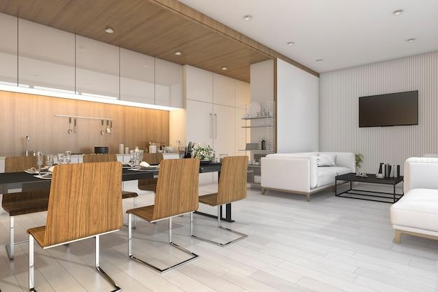 Representación 3d bonita cocina de madera y comedor con zona de estar