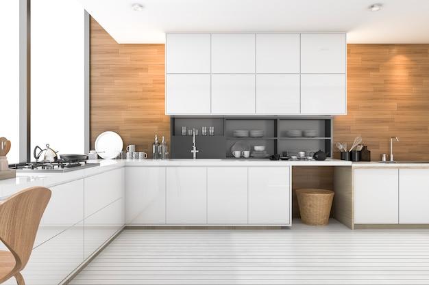 Representación 3d bonita cocina de madera con diseño de loft