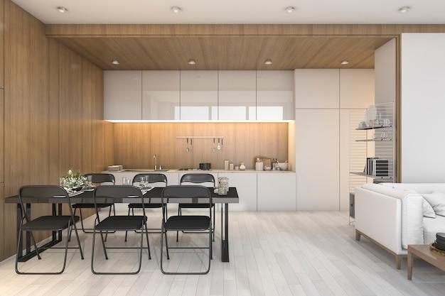 Representación 3d bonita cocina de madera con sofá blanco y zona de comedor
