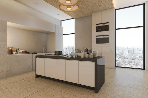 Representación 3d bonita vista de la ciudad desde la cocina en condominio