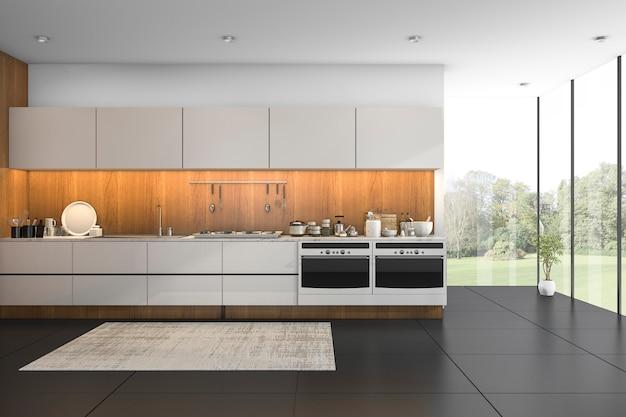 Representación 3d bonita vista cocina de madera con azulejo negro