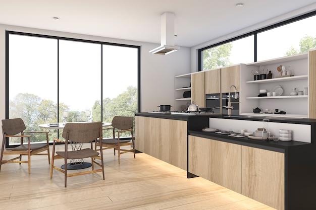 Representación 3d bonita vista madera cocina y comedor