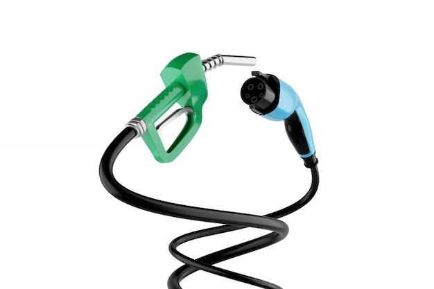 Representación 3d boquilla de gas vs enchufe de carga de vehículo eléctrico aislado en blanco