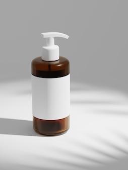 Representación 3d botella de plástico transparente marrón con bombas dispensador aisladas sobre fondo blanco.