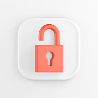 Representación 3d de un botón de icono cuadrado blanco. candado abierto rojo aislado sobre fondo blanco.
