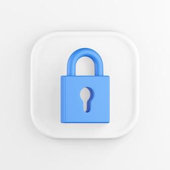 Representación 3d de un botón de icono cuadrado blanco. candado cerrado azul aislado en blanco.