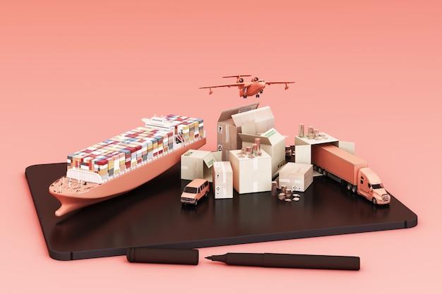 Representación 3d de la caja de la caja rodeada de cajas de cartón, un barco de contenedores de carga, un plano de vuelo, un automóvil, una camioneta y un camión