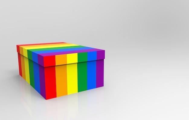 Representación 3d caja de papel vacía con textura de color arco iris lgbt