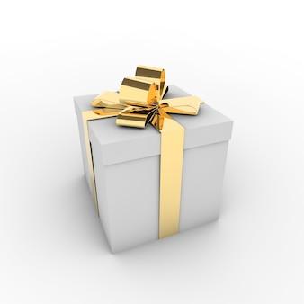 Representación 3d de una caja de regalo blanca con una cinta dorada aislado sobre un fondo blanco.