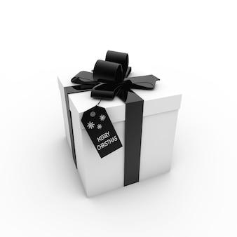 Representación 3d de una caja de regalo blanca con cinta negra y una etiqueta con el texto