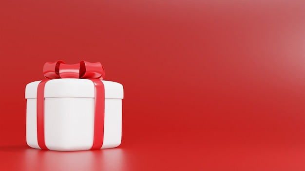 Representación 3d de caja de regalo blanca para navidad