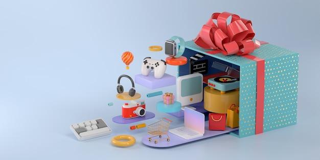 Representación 3d de caja de regalo y compras en línea.