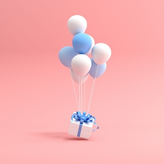 Representación 3d de caja de regalo y globos sobre fondo rosa.