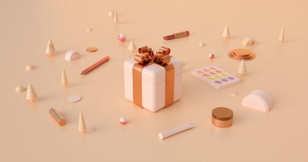 Representación 3d de cajas de regalo y objetos abstractos de navidad en tonos tierra.