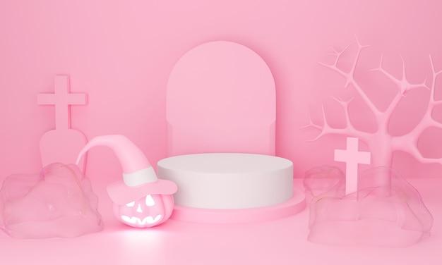 Representación 3d de calabaza de halloween feliz. mostrar podio sobre fondo pastel.