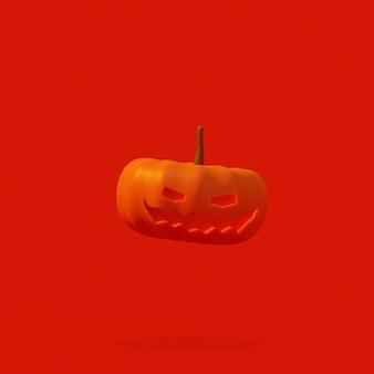 Representación 3d de calabaza de halloween flotando