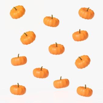 Representación 3d de calabazas naranjas flotando