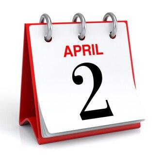 Representación 3d del calendario de abril