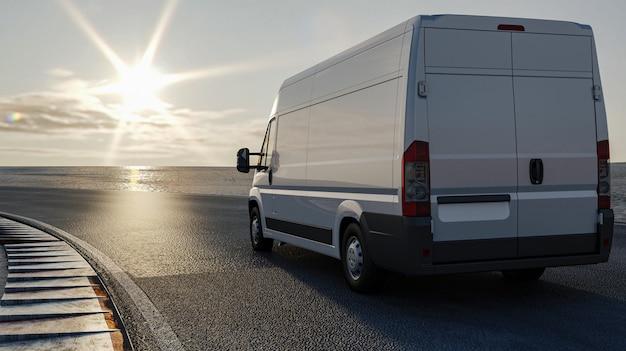 Representación 3d, camión en la carretera viaja al sol, concepto de transporte de carga