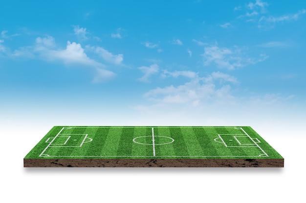 Representación 3d. campo de hierba verde de fútbol sobre fondo de cielo azul.