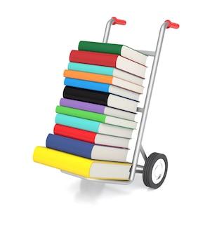 Representación 3d de una carretilla de mano con libros de colores