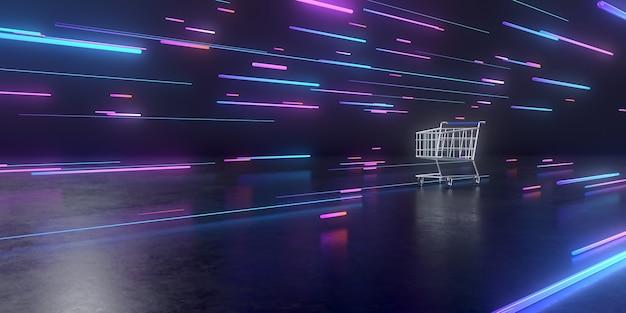 Representación 3d de carrito de compras y composición geométrica abstracta