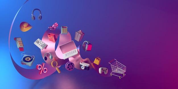 Representación 3d de carro de compras y cinta.