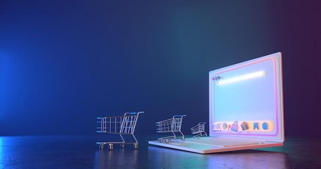 Representación 3d de carro de compras y portátil.