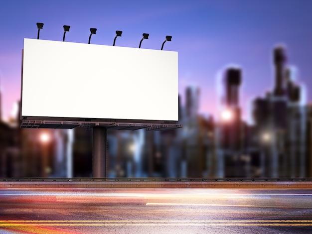 Representación 3d de cartelera en blanco con calle por la noche