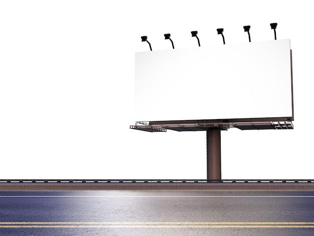 Representación 3d de cartelera en blanco con calle sobre fondo blanco.
