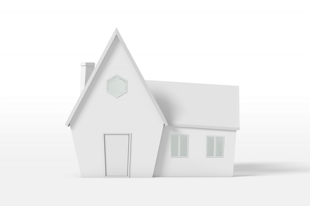 Representación 3d de una casa de campo con una extensión de color blanco aislado en un fondo blanco. estilo minimalista de dibujos animados.