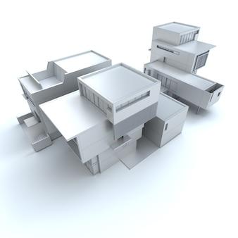 Representación 3d de una casa de diseño en blanco