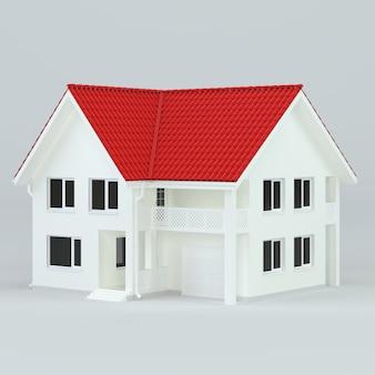 Representación 3d de casa moderna con garaje en venta o alquiler