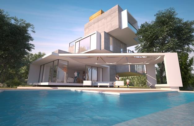 Representación 3d de una casa moderna con piscina y jardín construida en diferentes niveles independientes.
