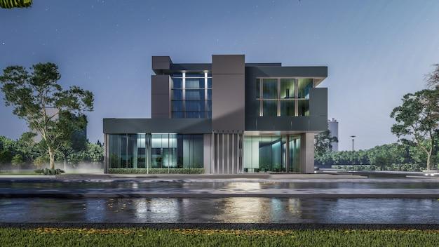 Representación 3d de casa moderna