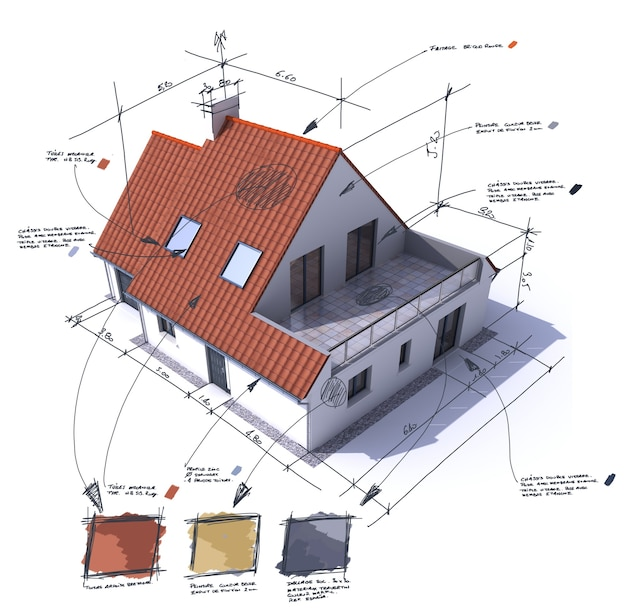 Representación 3d de una casa con notas, diseño y especificaciones técnicas.