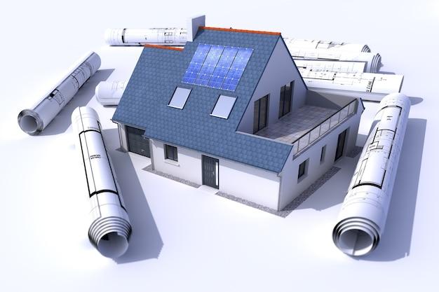 Representación 3d de una casa con paneles solares en el techo rodeada de rollos de planos