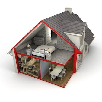 Representación 3d de una casa que muestra el exterior y el interior.