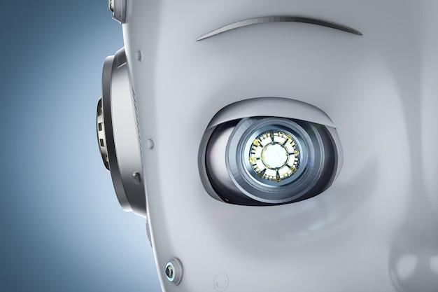 Representación 3d de cerca lindo robot o robot de inteligencia artificial con personaje de dibujos animados