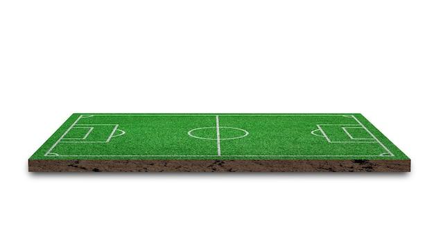 Representación 3d. césped de fútbol, campo de fútbol de hierba verde, aislado sobre fondo blanco.