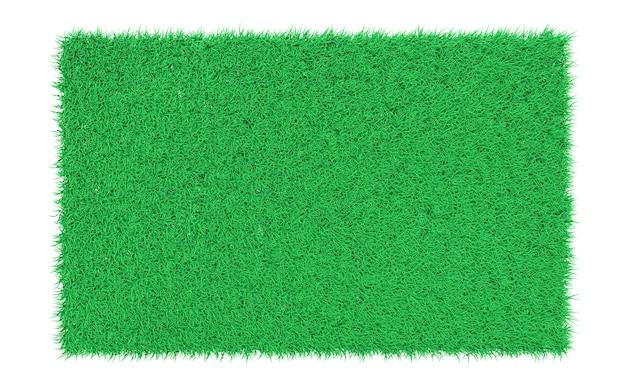 Representación 3d de césped verde rectangular sobre un fondo blanco.