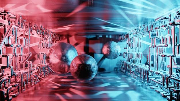 Representación 3d de ciencia ficción interior, formas geométricas simples. fondo abstracto futurista del metal, luz de neón.
