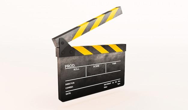 Representación 3d de clapperboard en el fondo blanco.