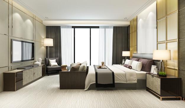 Representación 3d clásica hermosa suite de un dormitorio de lujo en el hotel con televisión