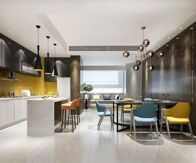Representación 3d de cocina con mesa de comedor y sillas coloridas